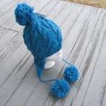 Cabled Hand knit Earflap Adult Hat,..